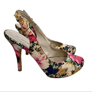 Call it Spring floral sling back heels